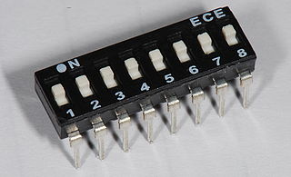 DIP switch number of electric switches in a dual in-line package