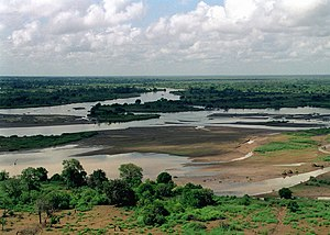 An Aerial photograph of the flooded TANA RIVER...