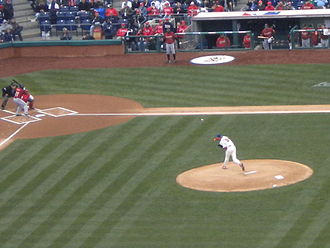 2011 Philadelphia Phillies season - Roy Halladay throwing the first pitch of the 2011 season to the Astros' Michael Bourn on April 1