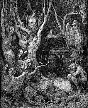 The Wood of the Self-Murderers: The Harpies and the Suicides - Harpies in the Forest of Suicides, an 1861 engraving by Gustave Doré, illustrates the same canto of the Inferno.