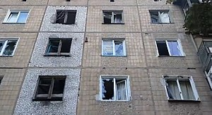 Damaged apartment building in Gorlivka, Donbass, August 7, 2014.jpg