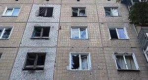 Battle of Horlivka - Damaged building in Horlivka