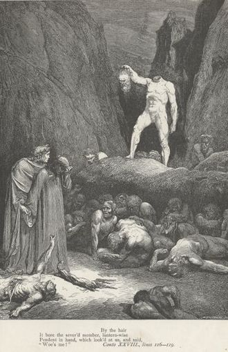 Bertran de Born - Doré's illustration of Bertran in Hell, from Dante's L'Inferno