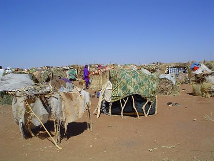 Camp of Darfuris internally displaced by the ongoing War in Darfur. Darfur IDPs 1 camp.jpg