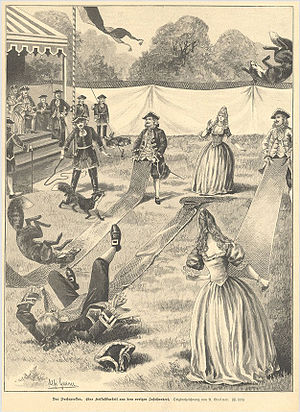 "Fox tossing - An engraving of German aristocrats engaged in the sport of fox tossing or Fuchsprellen (lit. ""fox bouncing"")"