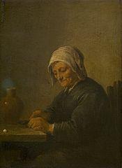 An Old Woman Cutting Tobacco