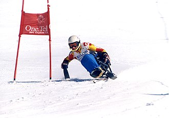 Australia at the 2002 Winter Paralympics - Australian Paralympian Peter Boonaerts during competition at the 2001 Alpine Skiing World Cup