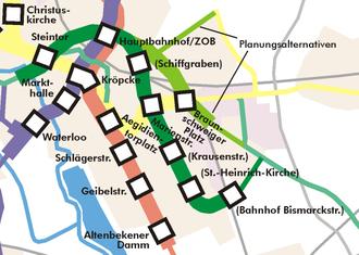 """Hanover Stadtbahn - """"D tunnel"""". Original plans under Sallstraße in dark green, alternative plans from 2000 in light green."""
