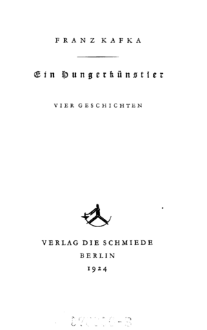 A Hunger Artist - Title page of 1924 edition of Ein Hungerkünstler