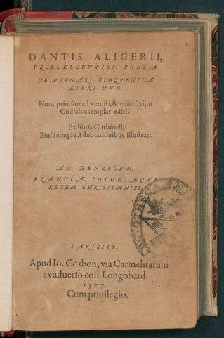 De vulgari eloquentia, 1577