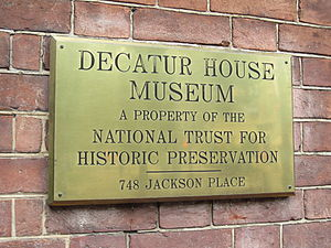 Decatur House Museum plaque, Washington, DC.JPG