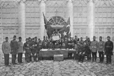 Declaration of the Young Turk Revolution by the leaders of the Ottoman millets in 1908 Declaration of the 1908 Revolution in Ottoman Empire.png