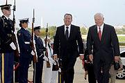 Defense.gov News Photo 100922-D-7203C-001 - Secretary of Defense Robert M. Gates escorts British Defense Minister Liam Fox through an honor cordon and into the Pentagon on Sept. 22, 2010