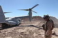 Defense.gov News Photo 110401-M-DS798-151 - A U.S. Marine Corps MV-22 Osprey tiltrotor aircraft lands in the Imperial Valley Desert in California on April 1 2011. The MV-22 crew was.jpg