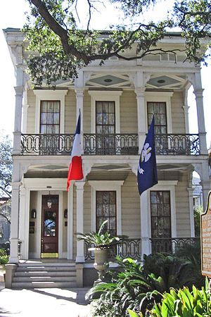 Esplanade Avenue, New Orleans -  The Musson House, now known as the Degas House, at 2306 Esplanade Avenue.  The artist Edgar Degas stayed here with his Musson relatives during 1872–73.  The house was completed in 1852.