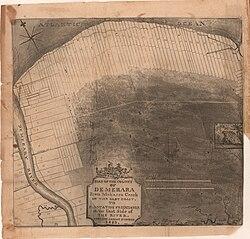 Mapon de norda marbordo de Georgetown Gujano de hodiaŭ en 1823, montrante la plantejojn kiel ŝikajn mallarĝajn striojn perpendikularan al la marbordon