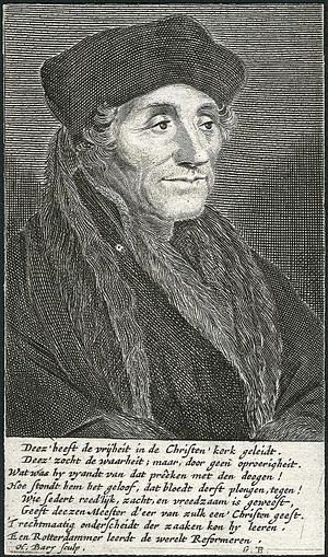 Hendrik Bary - Desiderius Erasmus, engraved portrait by Bary, 1671