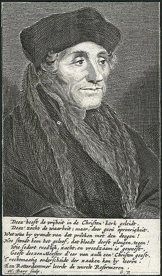 Hendrik Bary - Desiderius Erasmus, engraved portrait by Bary, 1671