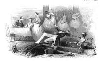 Un jeune homme tiré par les cheveux est entraîné par un squelette tandis que des jeunes femmes dansent à l'arrière-plan.