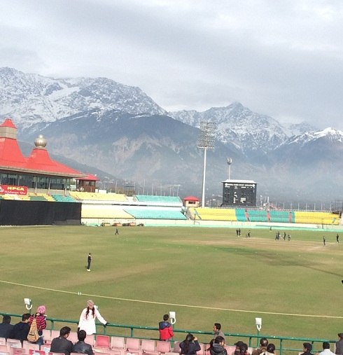 Dharamshala Cricket Stadium on a summer day