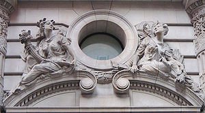 Beaux-Arts architecture - Beaux-Arts building decoration presenting images of the Roman goddesses Pomona and Diana. Note the naturalism of the postures and the channeled rustication of the stonework.