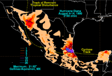 A map depicting rainfall totals across Mexico from a Category 2 hurricane
