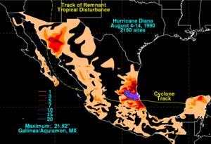 Hurricane Diana - Rainfall from Diana in Mexico