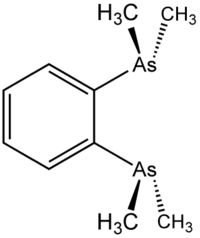 Stereo, Kekulé, skeletal formula of 1,2-bis(dimethylarsino)benzene with some implicit hydrogens shown