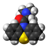 Space-filling model of the Dimethylaminopropionylphenothiazine molecule