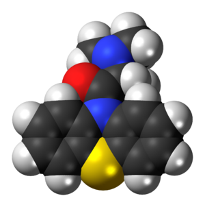Dimethylaminopropionylphenothiazine - Image: Dimethylaminopropion ylphenothiazine 3D spacefill