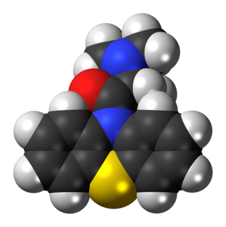 Dimethylaminopropionylphenothiazine - Image: Dimethylaminopropion ylphenothiazine 3D spacefill