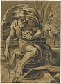 Diogenes, seated before his barrel, reading from a book, a plucked hen standing behind him at right MET DT5032.jpg