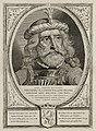 Dirk I, graaf van Holland, in een harnas. De omlijsting is versierd met het wapen van Holland. NL-HlmNHA 1477 53012894.JPG