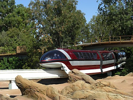 Monorail Red travels over the Finding Nemo Submarine Voyage in Tomorrowland Disneyland Mark VII Monorail Red.jpg