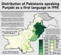 Distribution of Pakistanis speaking Punjabi as a first language in 1998.png