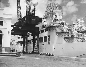 USAS American Mariner - The American Mariner being provisioned at Recife, Brazil.