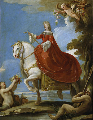 Maria Anna of Neuburg - Maria Anna of Neuburg on horseback by Luca Giordano, Prado Museum, Madrid.