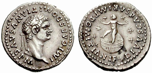 Upon his accession, Domitian revalued the Roman currency by increasing the silver content of the denarius by 12%. This coin commemorates the deification of Domitian's son. Caption: IMP. CAES. DOMITIANVS AVG. P. M. / DIVUS CAESAR MP. DOMITIANI F. Domitian denarius son.png