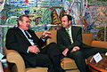 Donald Rumsfeld discusses regional security issues with Vlado Bučkovski, 5 June 2001.jpg