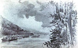 History of Nashville, Tennessee - Artist's depiction of Donelson's flatboats descending the Cumberland River in 1784