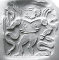 Double-sided stamp seal- nude winged hero dominating snakes; winged dragon MET ss1986 311 2a.jpg