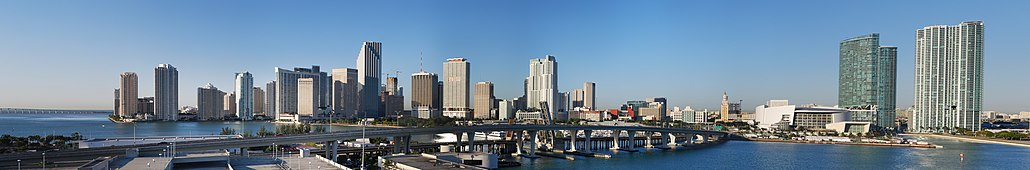 Downtown Miami skyline as seen from the Port of Miami.