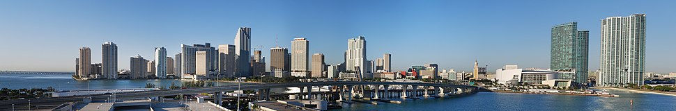 Downtown Miami skyline (in 2009) as seen from the Port of Miami.