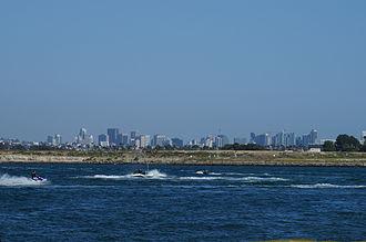Mission Bay (San Diego) - Downtown San Diego Skyline as seen from Ski Beach in Mission Bay