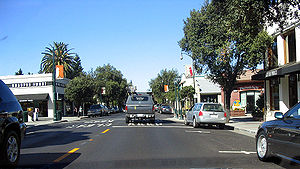 The downtown area of the town of Los Gatos, Ca...