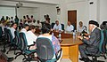 Dr. Farooq Abdullah addressing the official meeting after taking over the charge of the office of Minister of New and Renewable Energy, in New Delhi on May 29, 2009.jpg