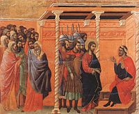 Duccio di Buoninsegna - Pilate's First Interrogation of Christ - WGA06803.jpg