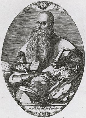 Classical guitar making - Gasparo Duiffopruggar (1514 - c. 1570) - Engraving by Pierre Woeiriot (1532–1599)  Viva fui in sylvis, sum dura occisa securi, dum vixi, tacui, mortua dulce cano