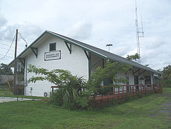 The former Atlantic Coast Line Railroad depot in Dunnellon, Florida.
