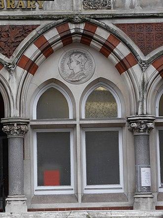 Jemina Durning Smith - Durning Library roundel of Jemima above a window